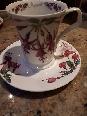 Dunoon flower of the month Cyclamen- mug and saucer-August