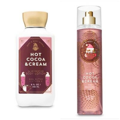 Bath And Bodyworks HOT COCOA AND CREAM Duo - Fine Fragrance Mist And Body Lotion