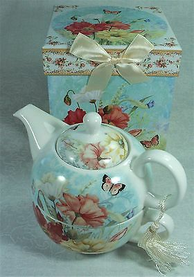 Poppy Porcelain Tea For One Teapot TP2189 NEW 93336030023745 w Presentation Box