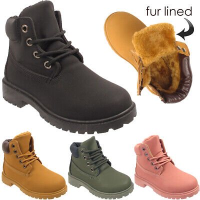 New Kids Childrens Army Fur Lined Winter Warm Army Girls Boys Combat Ankle Boots