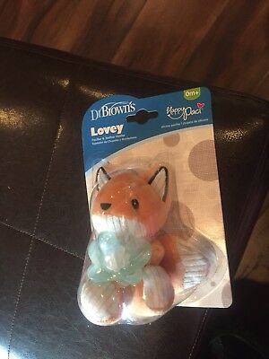 Dr. Browns Franny Fox Lovey Happy Paci  Pacifier  Teether Holder Baby Plush New
