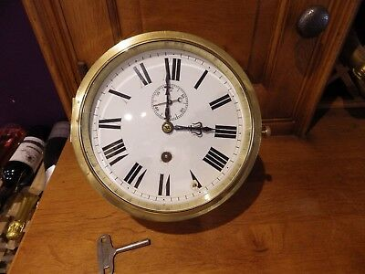 Ships Clock Large And Heavy full Serviced Case Cleaned Nice Thing Circl 1900