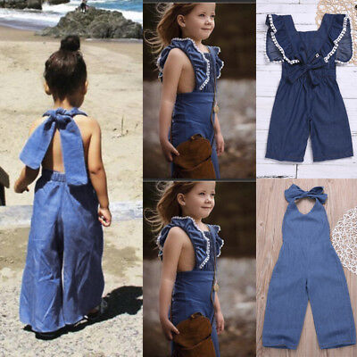 Toddler Baby Kids Girls Lace-up Overall Pants Trousers Loose Long Pants Clothes
