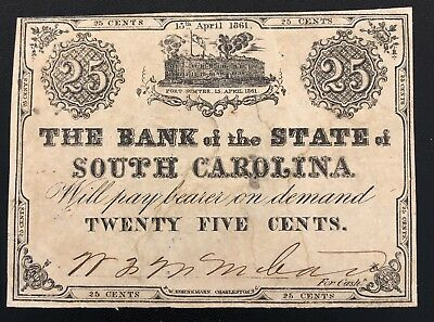 Bank Of The State Of South Carolina 25 Cent Note Fort Sumter Confederate 1861