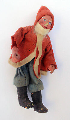 Rare Antique German Santa Paper Mache Wire/felt Fabric