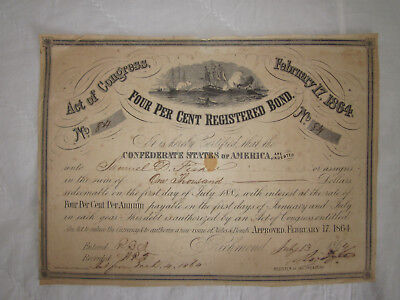 RARE 1864 Confederate States $1000 Bond CR#141 Ironclad Virginia