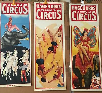Hagen Bros Circus Posters - Pinup Art - 3 Original Panels - Lot 3