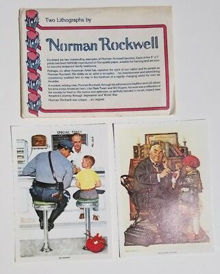 """Vintage 2 Lithographs Norman Rockwell 5x7"""" Doctor and the Doll The Runaway"""