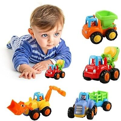 Friction Powered Car Toys, AMILE 4 PCS Push and Go Construction Vehicles Cars, E