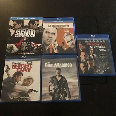 5 Blu-ray Lot - Used-Like-New - Sicario 2 - Trainspotting 2 - Knight and Day