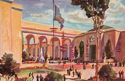 HALL OF WESTERN STATES 1939 Golden Gate Int'l Expo / GGIE Vintage Postcard