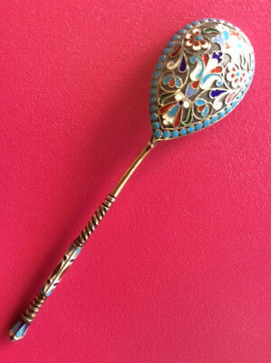 Rare Original Cloisonne Enamel Silver 88  Russian Imperial Antique Spoon Russia