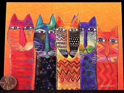 LAUREL BURCH Kittens Cats Kitties Colorful - Small Blank Greeting Note Card NEW