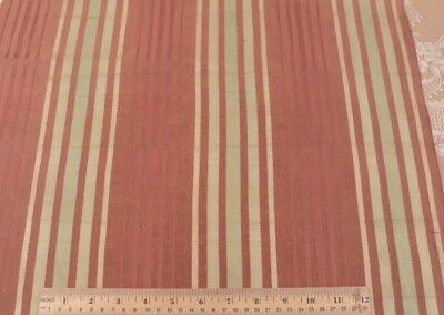 Antique c1900-1920 French Home Antique Silk Terracotta & Lime Stripe Fabric