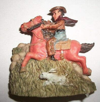 "Cowboy Riding Horse With Rifle Resin 3D Fridge Magnet  2.5"" x 2"""
