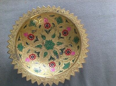 Beautiful vintage solid brass bowl on stand, painted enamel flowers,8 inches .