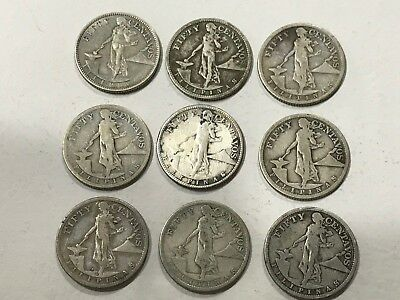 Lot of 13 Coins 1907 to 1921 -  50 Centavos - Philippines