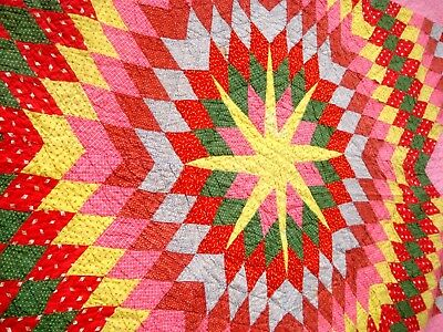 Antique Victorian Vtg Late 1800's Lone Star QUILT calico double pink