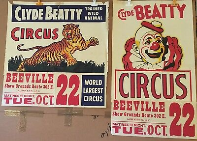 CLYDE BEATTY CIRCUS POSTERS -  2 1950s ORIGINAL HALF SHEET - LOT 11