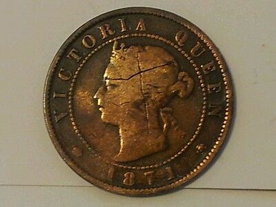 1871 Large One Cent Canada Prince Edward Island Coin Queen Victoria