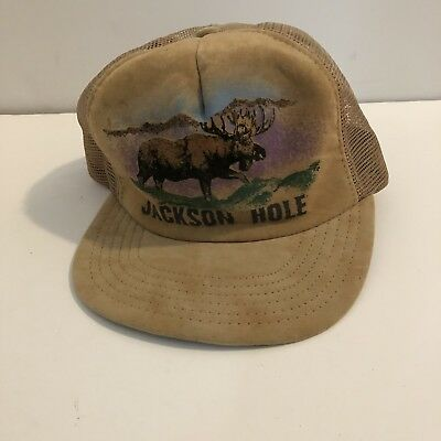 Vintage Jackson Hole Snapback Trucker Hat Brown Suede Tan Moose Vintage Wyoming