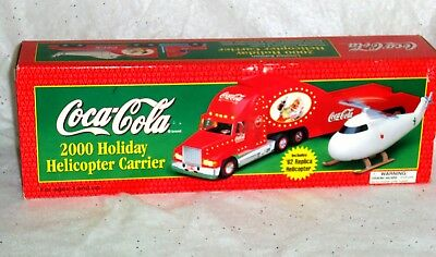 Coca Cola Holiday Tractor Trailer Holiday Helicopter Carrier Toy 2000