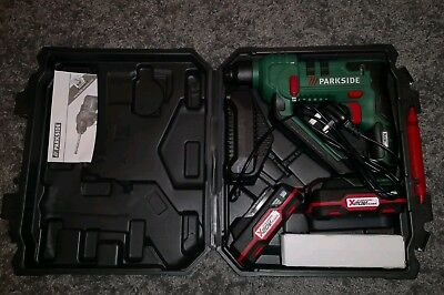 Parkside Cordless Hammer Drill PABH 2×20-Li B2 charger, bids and case