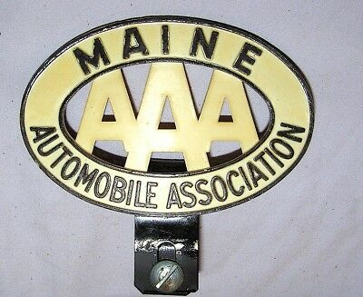 Vintage Car AAA Maine Badge - License plate topper - 1930's