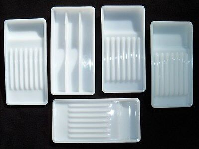 Vintage Milk Glass Dental trays American Cabinet and Valtronic Lot/5