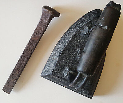 ANTIQUE Heavy Metal Lot Of 2 Railroad Spike & Cast Clothes Iron Kitchen Decor