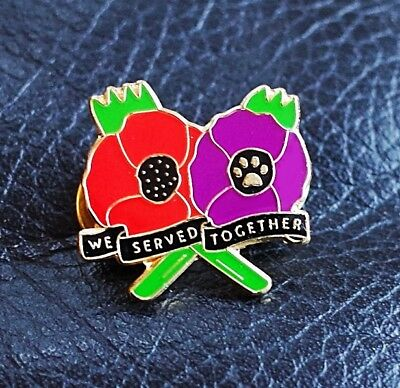 Red & Purple Poppy Badge We Served Together Remembering Soldiers Animals In War