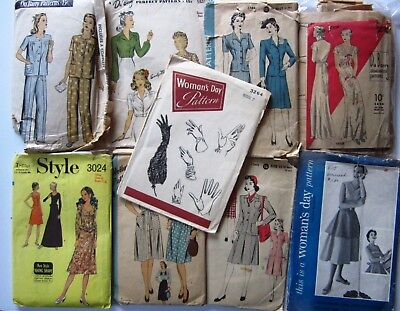 Lot of 10 Vintage Sewing Patterns Du Barry Style Woman's Day Hollywood