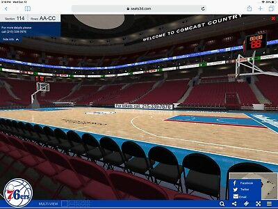 4 Philadelphia 76ers -sixers Tickets 2/23 Floor Courtside  Early Entry Sec114 BB