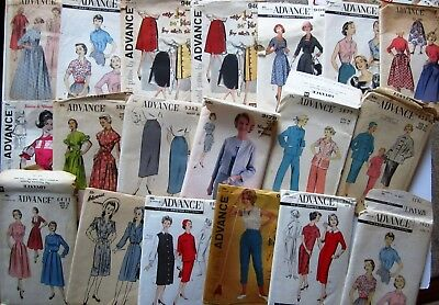 Lot of 21 Vintage Sewing Patterns Advance Patterns Misses
