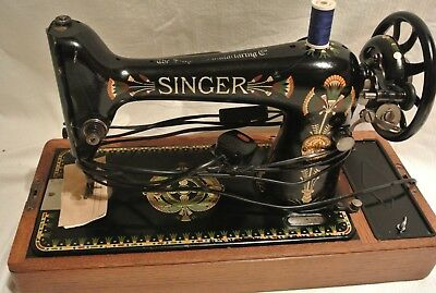 Singer 66K Lotus Decals Hand Crank Antique Sewing Machine, vintage Home Decor