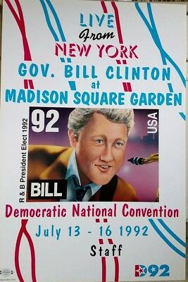 Gov Bill Clinton Appearance Poster, w/Sax, Dem Natl Convention 92 Clinton Signed