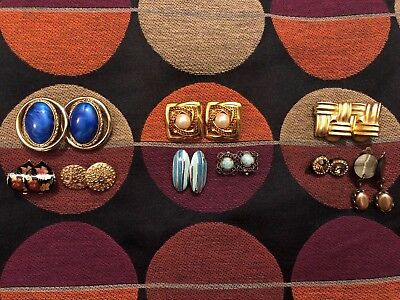 Vintage Clip On Earrings Job Lot Of 9 Pairs Two Signed