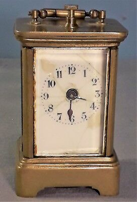 Antique Miniature Brass Wind Up Alarm Carriage Clock, For spares or repair.
