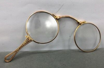 4a0256c1465 Vintage Victorian 10K Yellow Gold Lorgnette Glasses Flip Out Ornate Handle --NICE