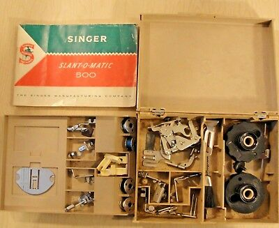 Singer 500 Slant-O-Matic Sewing Machine Accessories Box With Manual, CAMS & More