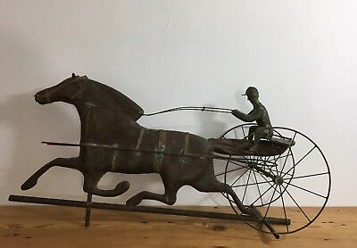 Vintage Sturdy Heavy Copper Horse and Jockey in Sulky Weathervane