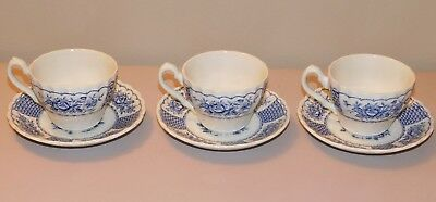 Melody Blue Myott Ironstone England Coffee Cups & Saucers - Lot of 3 - Ex Cond