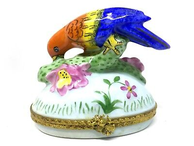 Peint Main Parrot with Flower & Branch Limoges French Porcelain Trinket Box