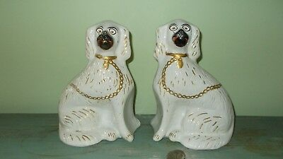 "PAIR OF Antique 19th Century ENGLISH STAFFORDSHIRE DOG SPANIEL 12""H"