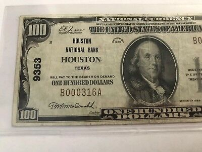 1929 $100 HOUSTON NATIONAL BANK HOUSTON, TX Texas  CURRENCY CH. #9353
