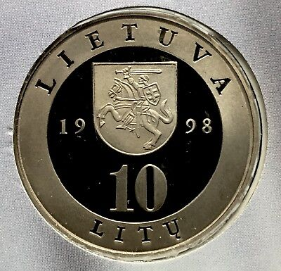 1998 Lithuania Proof 10 Litas Copper-Nickel BU Mintage 7,500 (F012)