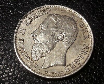 Belgium 50 CENTIMES 1886 Dutch text Silver Coin LEOPOLD II KING OF THE BELGIANS