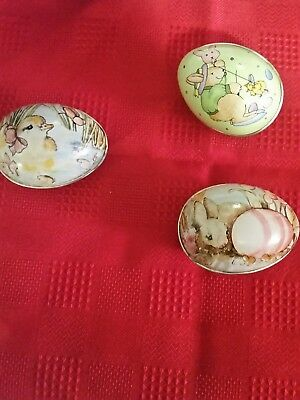 Lot of three Vintage Tin Easter Eggs Chicks and Bunnies