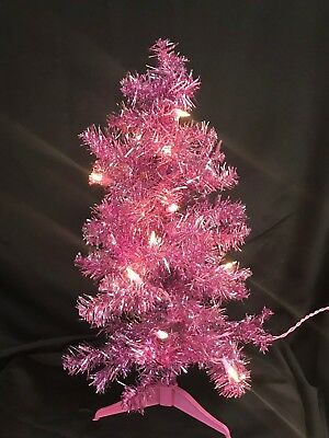 Preowned 24'' Pre-Lit Lighted Pink Barbie Tinsel Tree Christmas Holiday Tree 2ft
