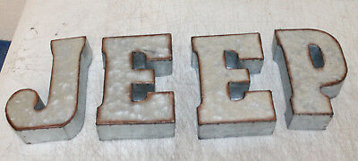 "7"" Marque Galvanized Vintage Style Metal 3D 4 JEEP Letters Sign Home Decor"